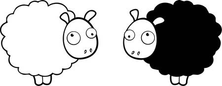 Due diversi colorato cartoon pecore in piedi in su. Archivio Fotografico - 44374714