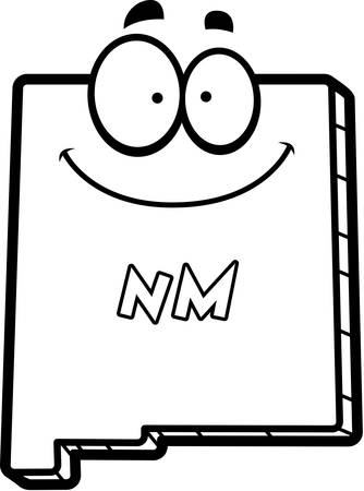 A cartoon illustration of the state of New Mexico smiling. Illustration