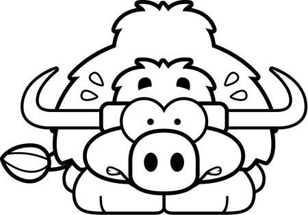 yak: A cartoon illustration of a little yak looking nervous. Illustration