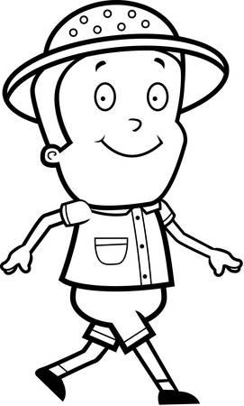 Een gelukkig cartoon explorer lopen en glimlachen. Stock Illustratie