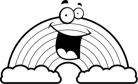 A cartoon illustration of a rainbow smiling and happy.