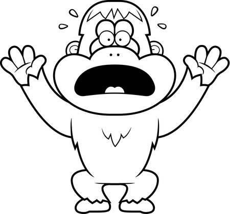 orangutan: A cartoon illustration of a orangutan panicking.