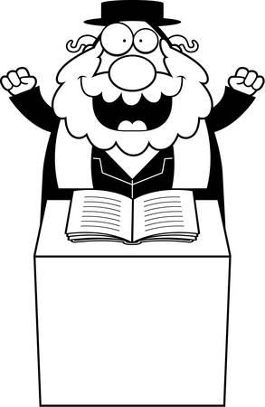 sermon: A cartoon illustration of a rabbi giving a sermon.
