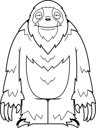 sloth: Un parado de la pereza de la historieta y la sonrisa.