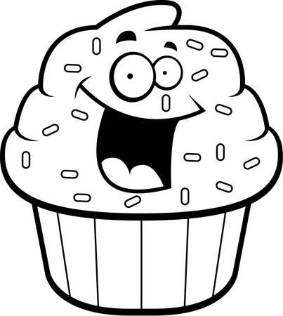 A cartoon frosted cupcake smiling and happy. Illusztráció
