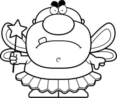 tooth fairy: A cartoon illustration of a tooth fairy looking angry.