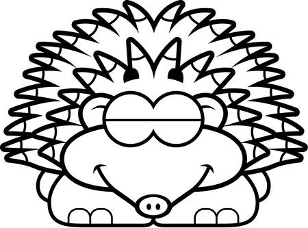 A cartoon illustration of a little hedgehog sleeping. Иллюстрация