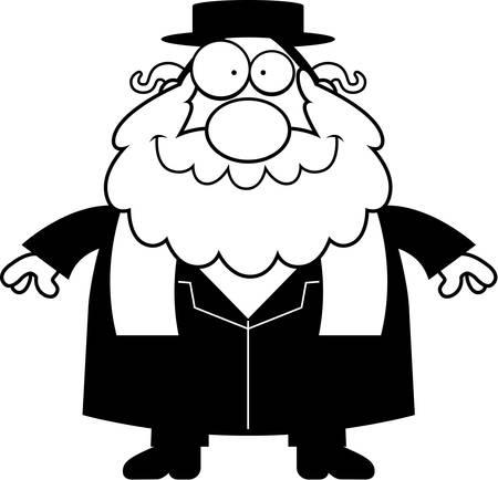 the rabbi: A cartoon illustration of a rabbi smiling. Illustration