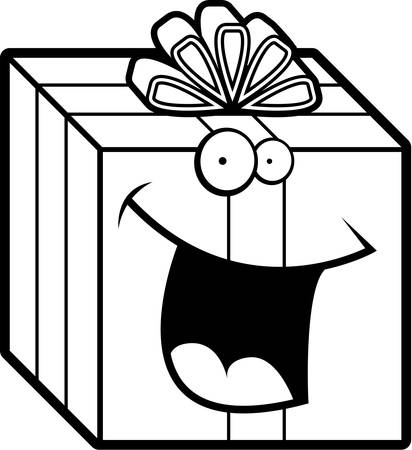 wrapped: A cartoon wrapped gift smiling and happy.