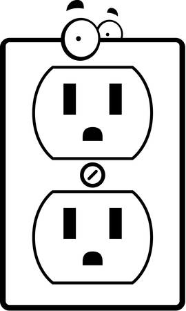 wall plug: A cartoon electrical outlet smiling and happy. Illustration