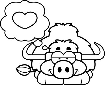 A cartoon illustration of a little yak with an in love expression.