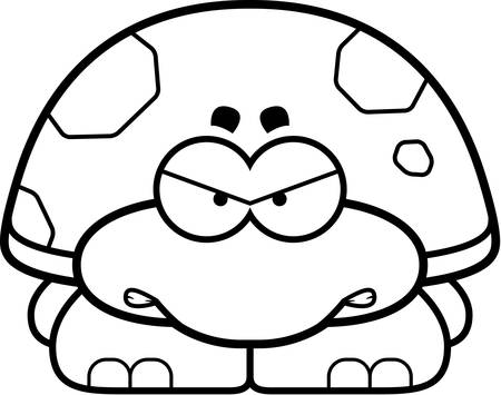 small reptiles: A cartoon illustration of a little turtle with an angry expression.
