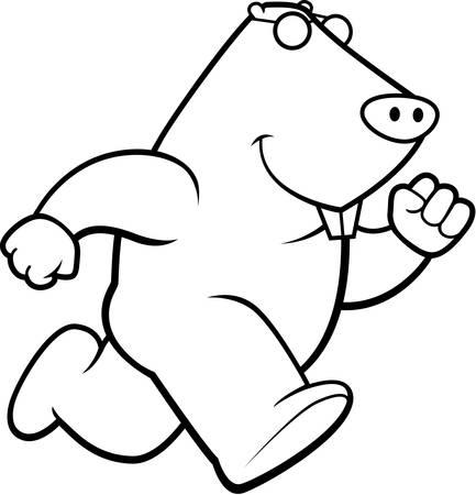 animal mole: A happy cartoon mole running and smiling.