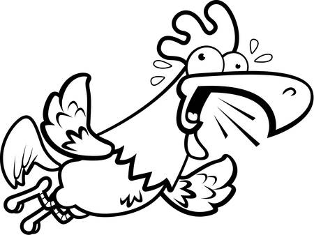 A cartoon rooster flying and crowing loudly.