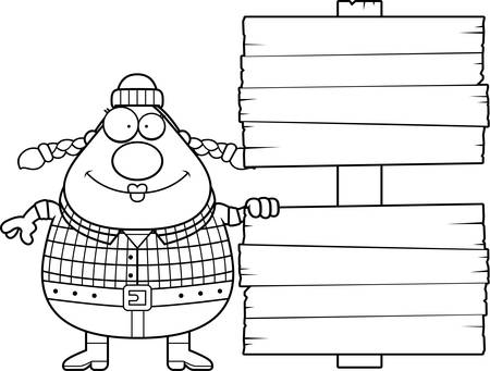 logger: A cartoon illustration of a woman lumberjack with a wooden sign. Illustration