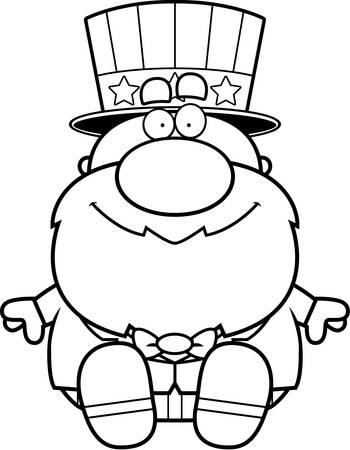 A cartoon illustration of a patriotic man sitting.