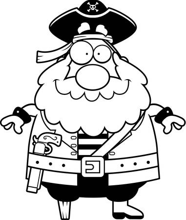 pegs: A happy cartoon pirate standing and smiling.