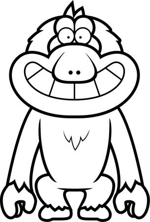 macaque: A cartoon illustration of a Japanese macaque grinning.