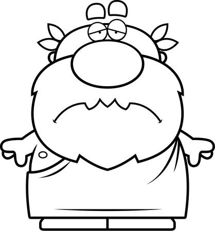 philosopher: A cartoon illustration of a Greek philosopher looking sad. Illustration