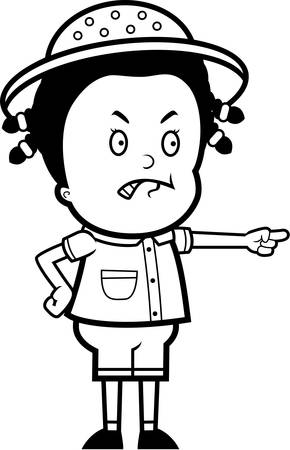 A cartoon child explorer angry and pointing.
