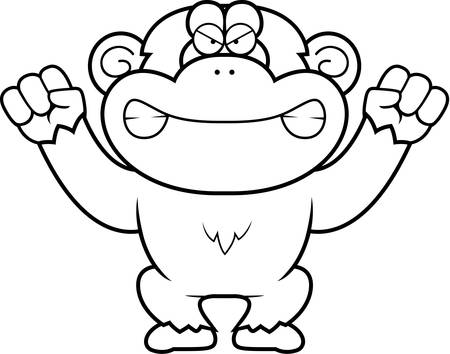 chimp: A cartoon illustration of an angry looking chimp. Illustration