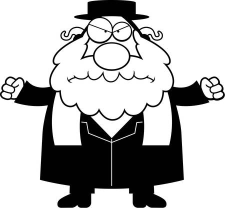 A cartoon illustration of a rabbi looking angry.