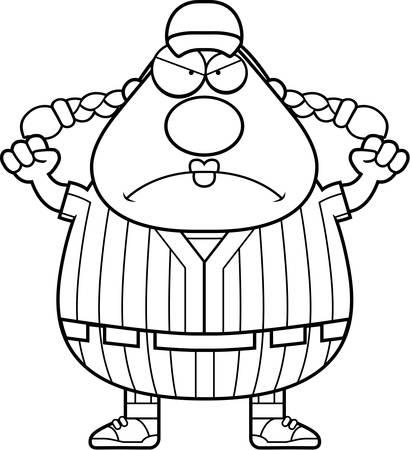 softball player: A cartoon illustration of a softball player looking angry. Illustration