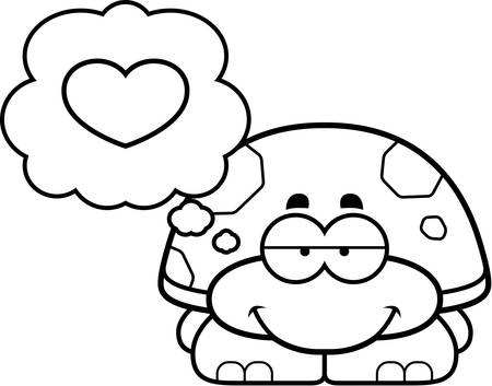 turtles love: A cartoon illustration of a little turtle with an in love expression. Illustration