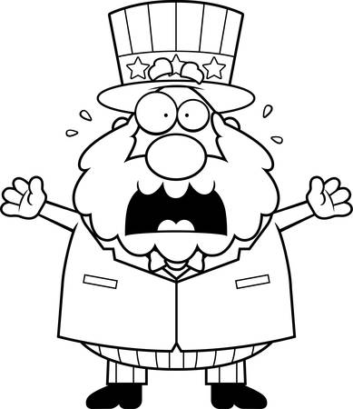 A cartoon illustration of a patriotic man panicking.
