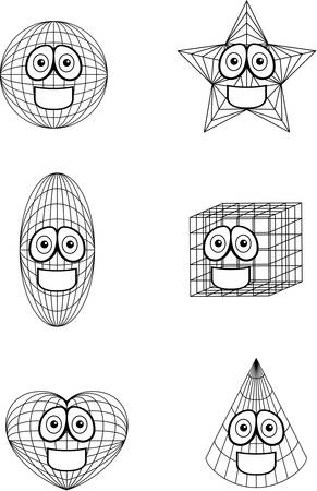 A variety of cartoon geometric shapes smiling.