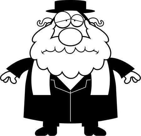 the rabbi: A cartoon illustration of a rabbi looking sad.