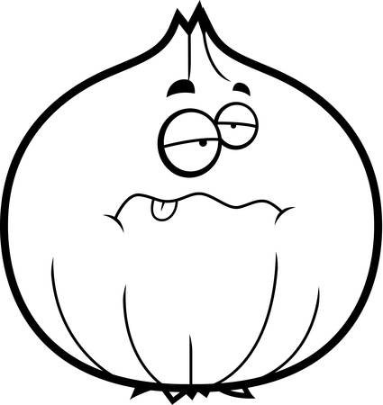 A cartoon illustration of an onion looking sick. 向量圖像