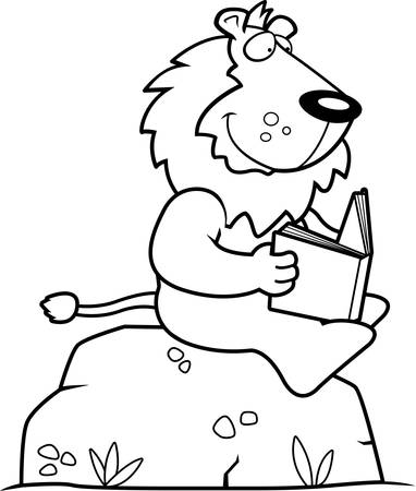 read book: A cartoon lion reading a book on a rock.