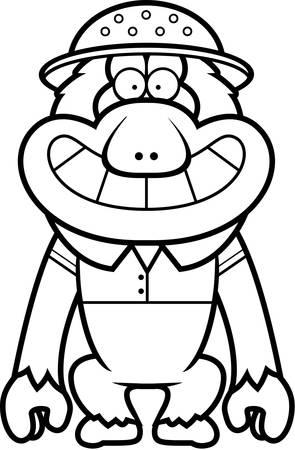 médula: Una ilustración de dibujos animados de un macaco japonés en un traje de safari y médula.