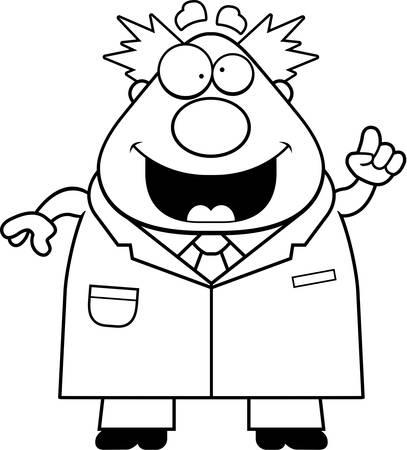 Un fumetto illustrazione di uno scienziato pazzo con un'idea. Archivio Fotografico - 44377825