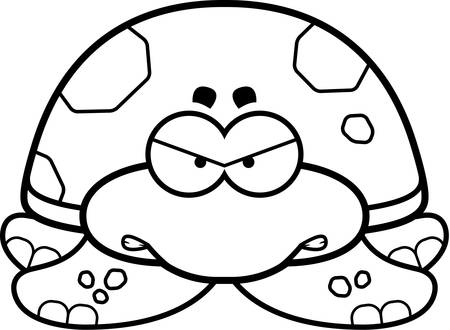 sea turtle: A cartoon illustration of a little sea turtle with an angry expression.