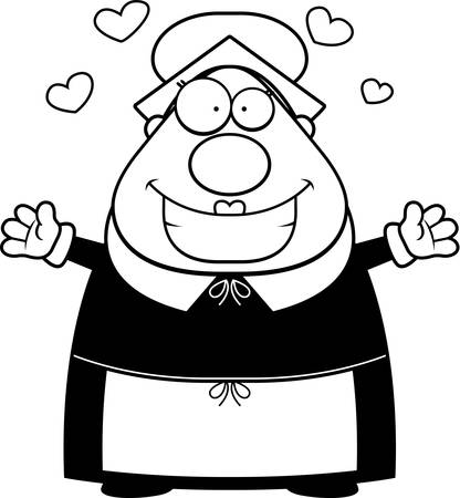 A happy cartoon pilgrim woman ready to give a hug. Ilustrace