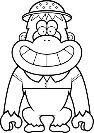 pith: A cartoon illustration of an orangutan in a safari outfit and pith.