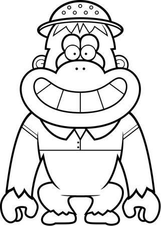 médula: Una ilustración de dibujos animados de un orangután en un traje de safari y médula.