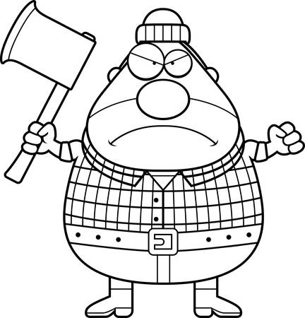 woodsman: A cartoon illustration of a lumberjack looking angry.