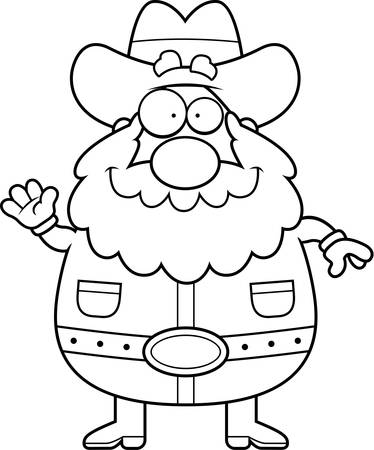 Een cartoon illustratie van een goudzoeker zwaaien en glimlachen. Stock Illustratie