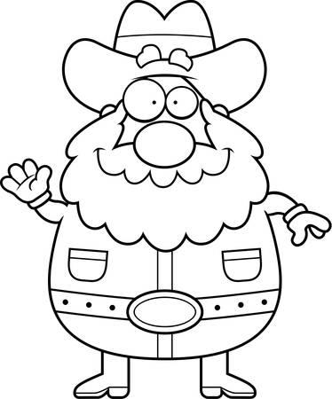 prospector: Un ejemplo de la historieta de un buscador saludando y sonriendo.