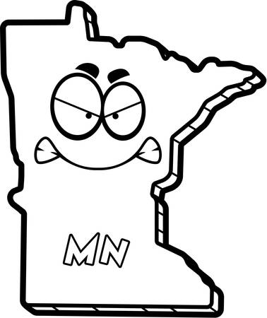 outraged: A cartoon illustration of the state of Minnesota looking angry.