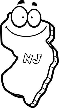 jersey: A cartoon illustration of the state of New Jersey smiling.