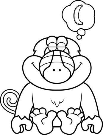 baboon: A cartoon illustration of a baboon dreaming of a banana.