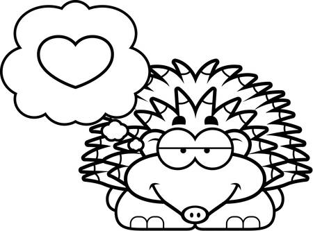 spines: A cartoon illustration of a little hedgehog with an in love expression. Illustration