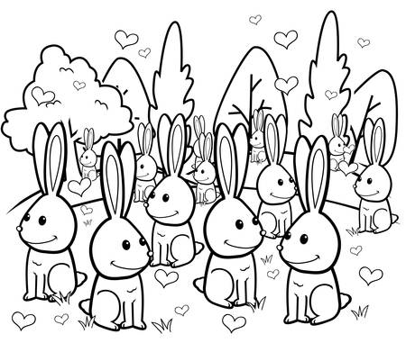 romance sex: A bunch of rabbits in love in a grassy field.
