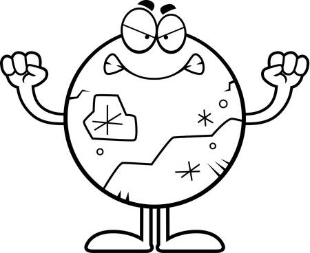 pluto: A cartoon illustration of Pluto looking angry.