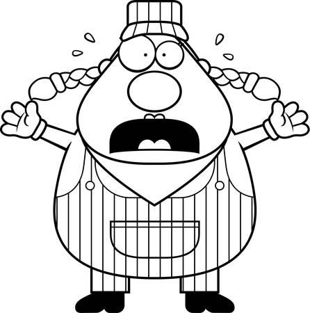 Eine Karikatur Zugführer besorgt und Panik. Standard-Bild - 44378930