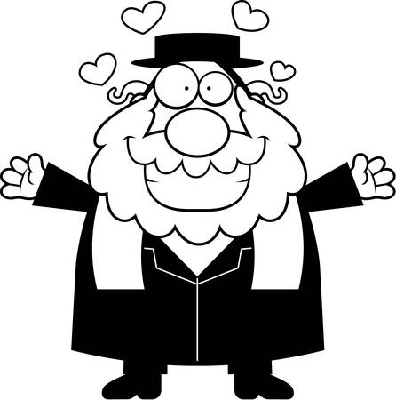 the rabbi: A cartoon illustration of a rabbi ready to give a hug.